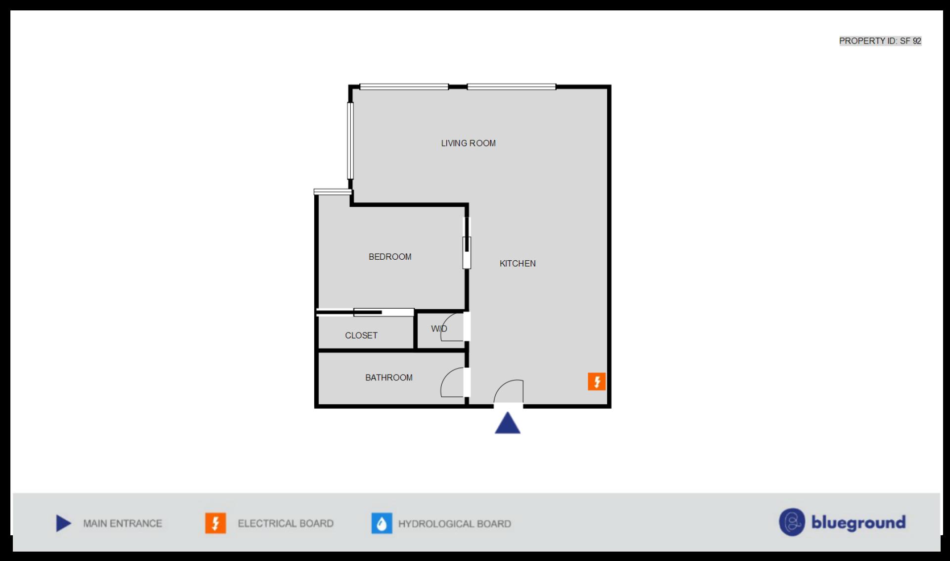 Floor plan of Glasdore Lofts Apartment, Hayes Valley, San Francisco