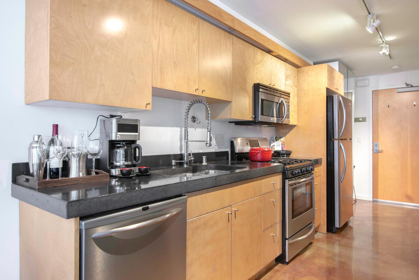 Kitchen at Glasdore Lofts Apartment