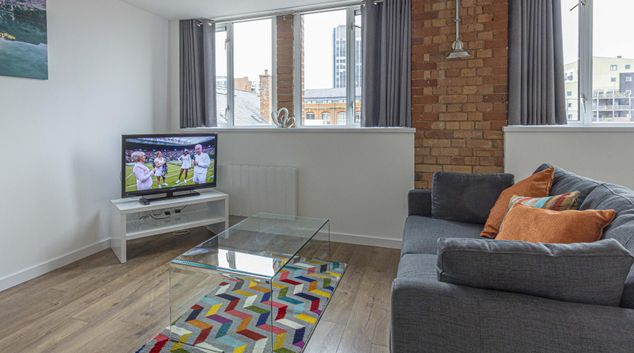 Living room at Queen Street Serviced Apartments, Centre, Leicester