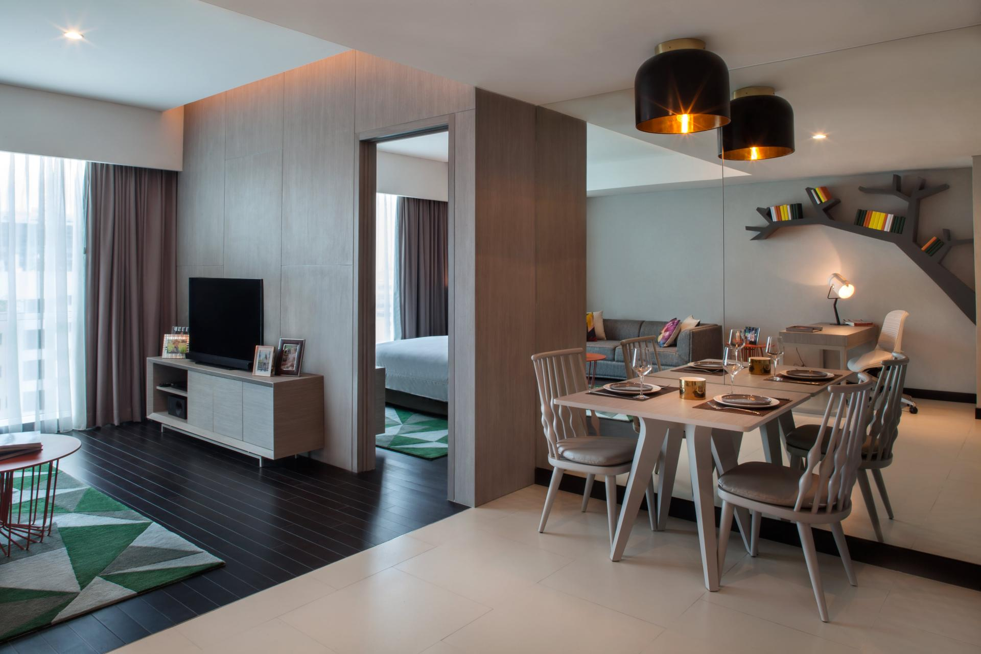 Living and dining at Fraser Place Setiabudi Jakarta