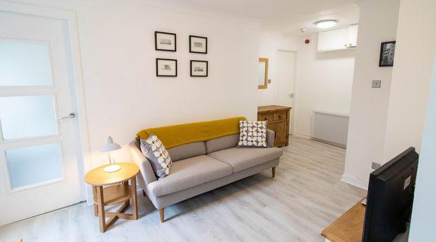 Lounge at James Watt Apartment, Merchant City, Glasgow