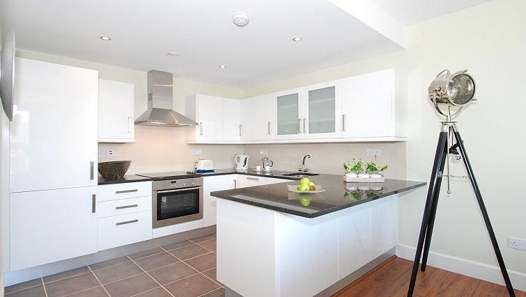 Modern kitchen at South Dock Apartments