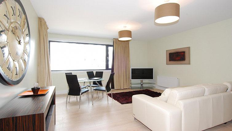 Living area in South Dock Apartments