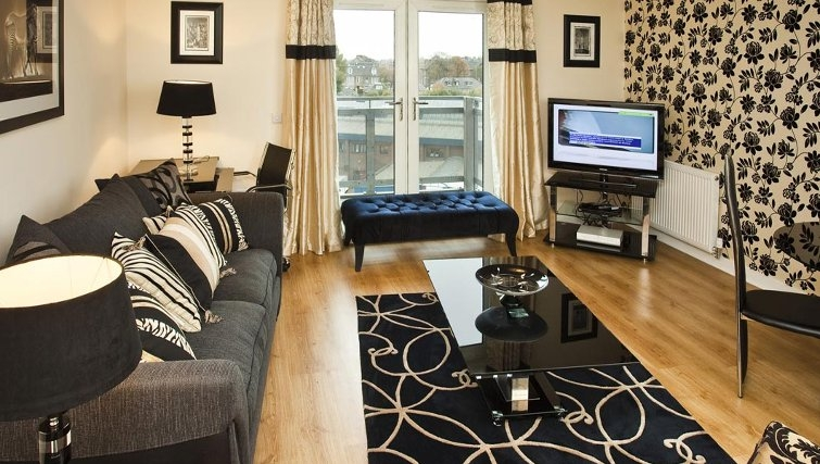 Stunning living area in Oakhill Apartments Edinburgh