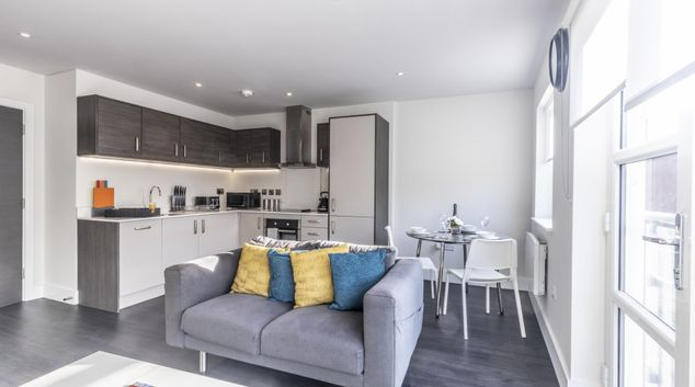 Living area at Aria Apartment, Centre, Leicester