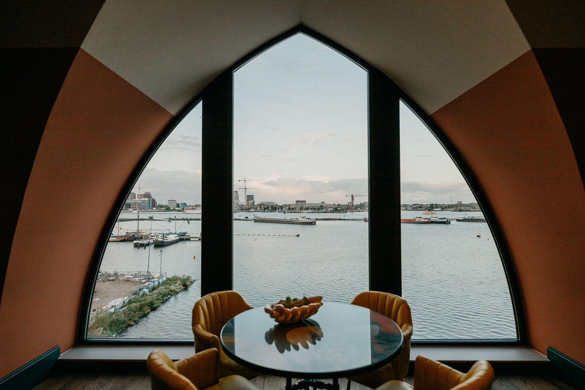 Arch window at Boat & Co Apartments, Houthavens, Amsterdam