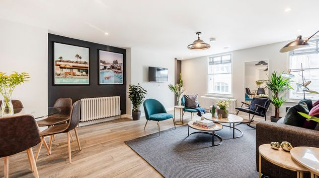 Living area at BE: Wardour Street Apartments