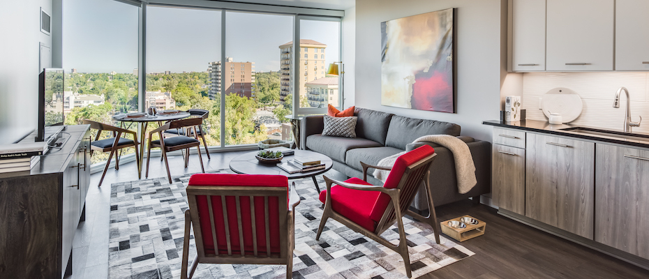 Living Room at Country Club Towers
