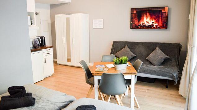 Living area at Townhallenstrasse Apartments, Altstadt, Dusseldorf