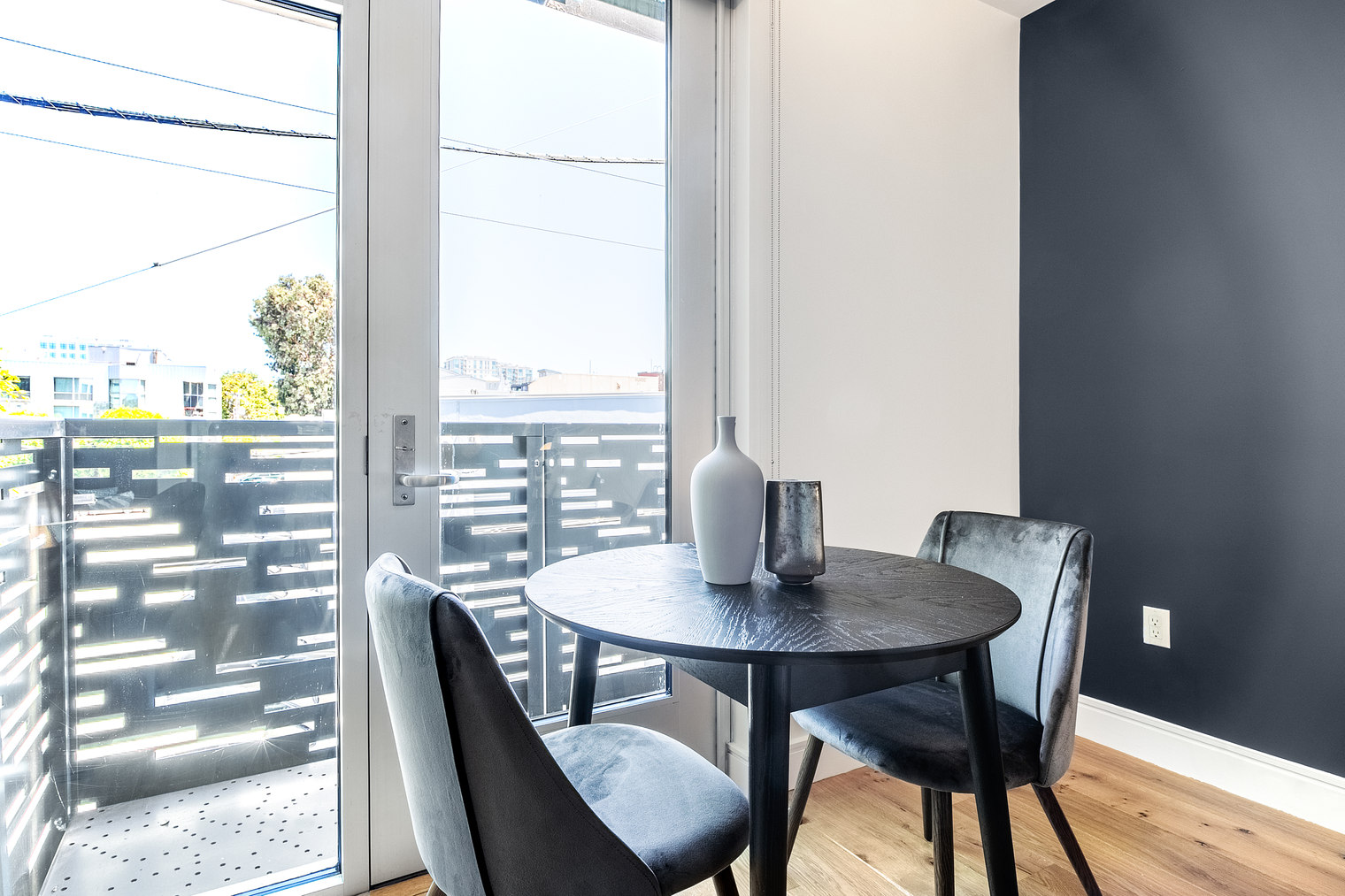 Dining table at Ritch Street Apartments, South Park, San Francisco