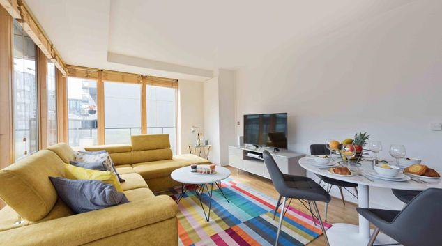Living area at Hanover Wharf Apartment