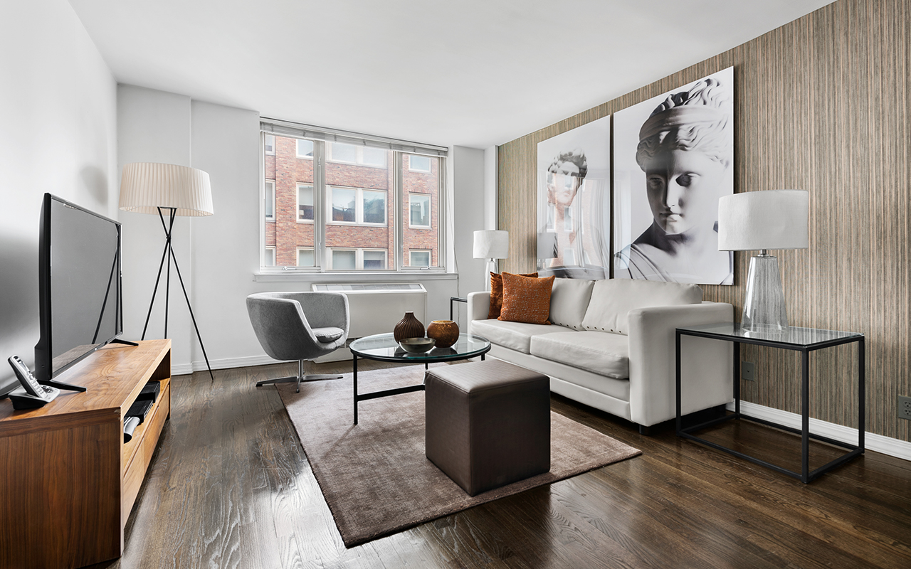 Bright living area at 316 East 63rd Street Apartments, Manhattan, New York