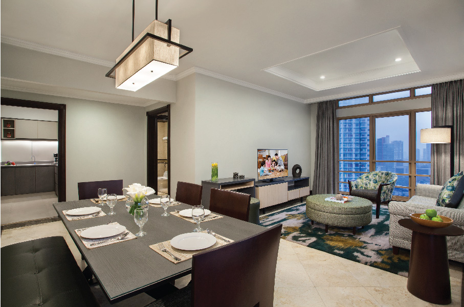 Living area at Somerset Grand Citra Apartments