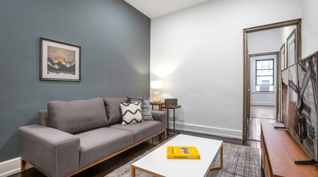 Living area at 338 East 13th Apartment, Manhattan, New York