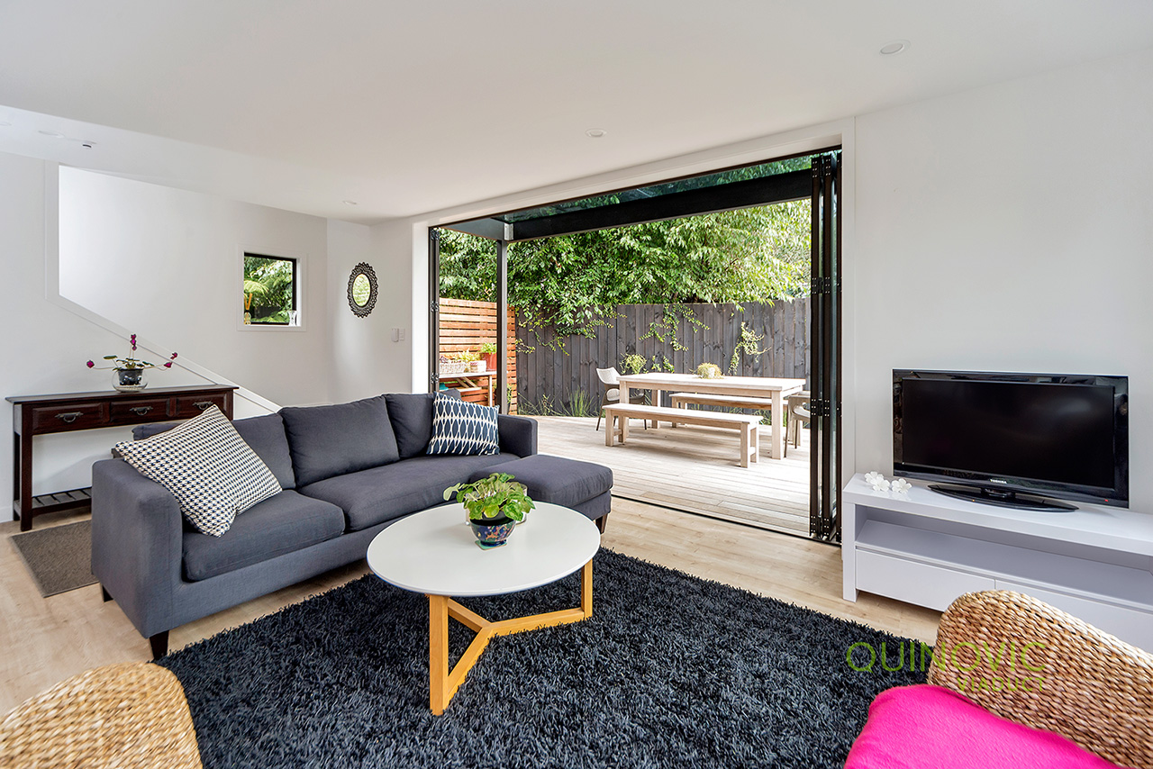 Living room at Wood Street Townhouse, St Marys Bay, Auckland