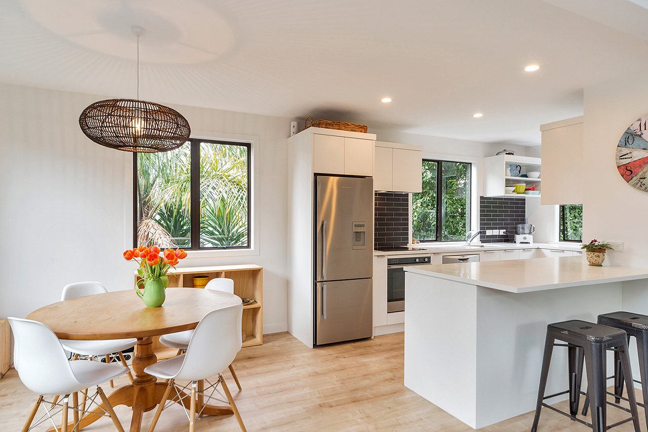 Dining table at Wood Street Townhouse, St Marys Bay, Auckland
