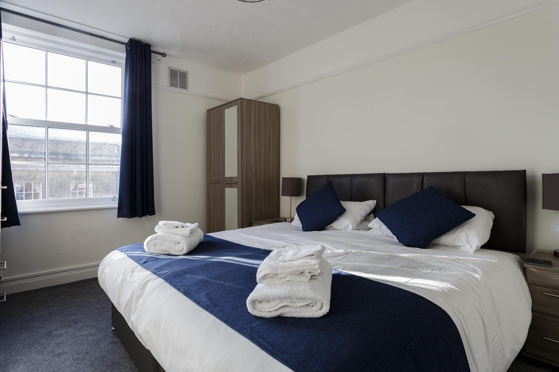 Bright bedroom at Braganza House Apartments, Old Portsmouth, Portsmouth