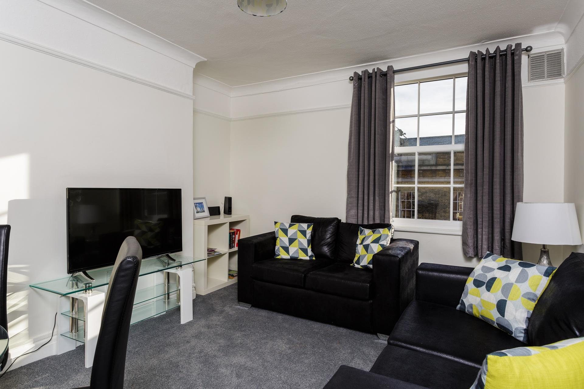 Living area at Braganza House Apartments, Old Portsmouth, Portsmouth