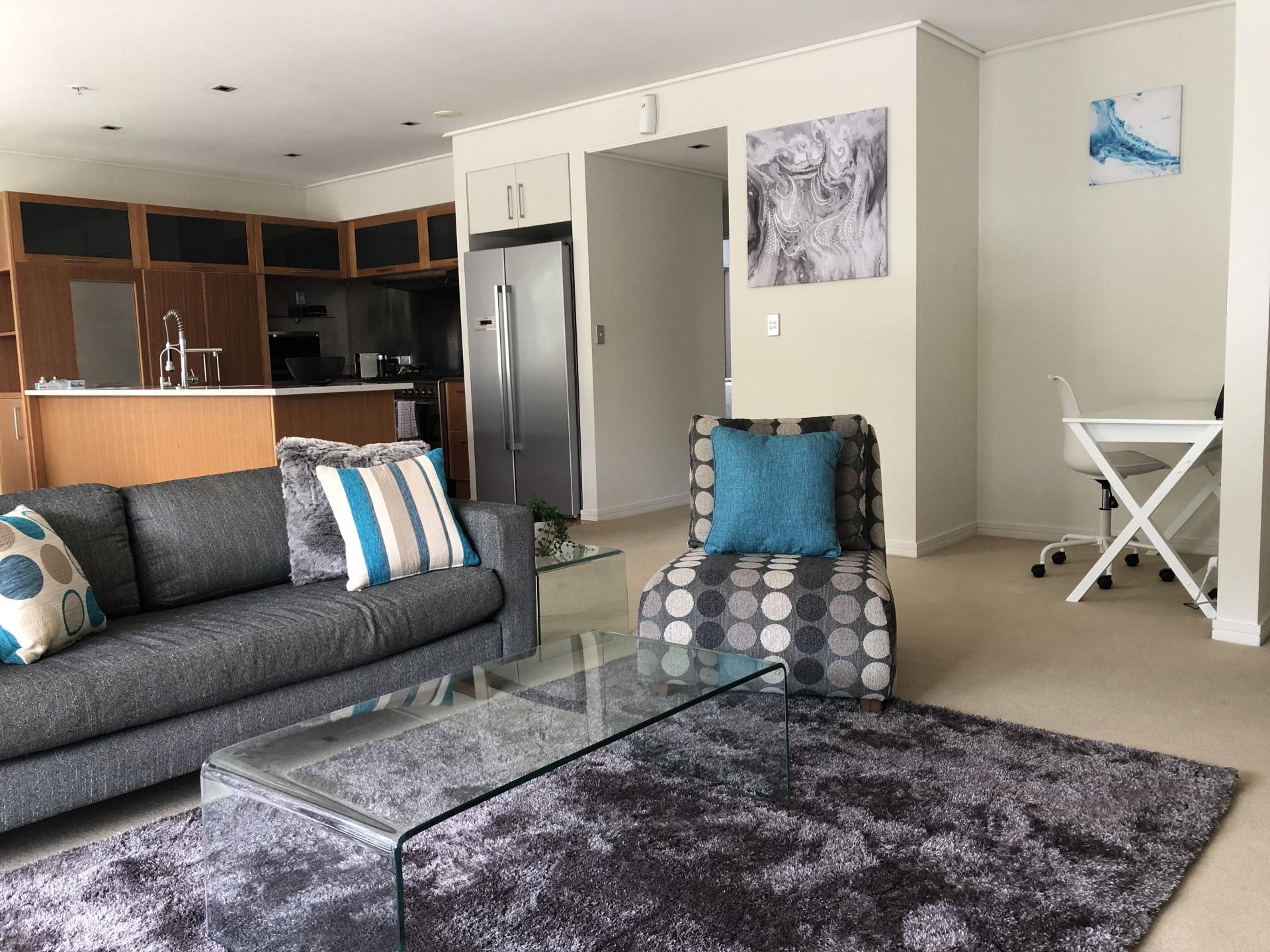Living area at The Parc Apartment
