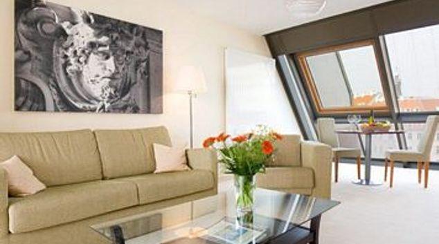Living area at Neumarkt Apartment