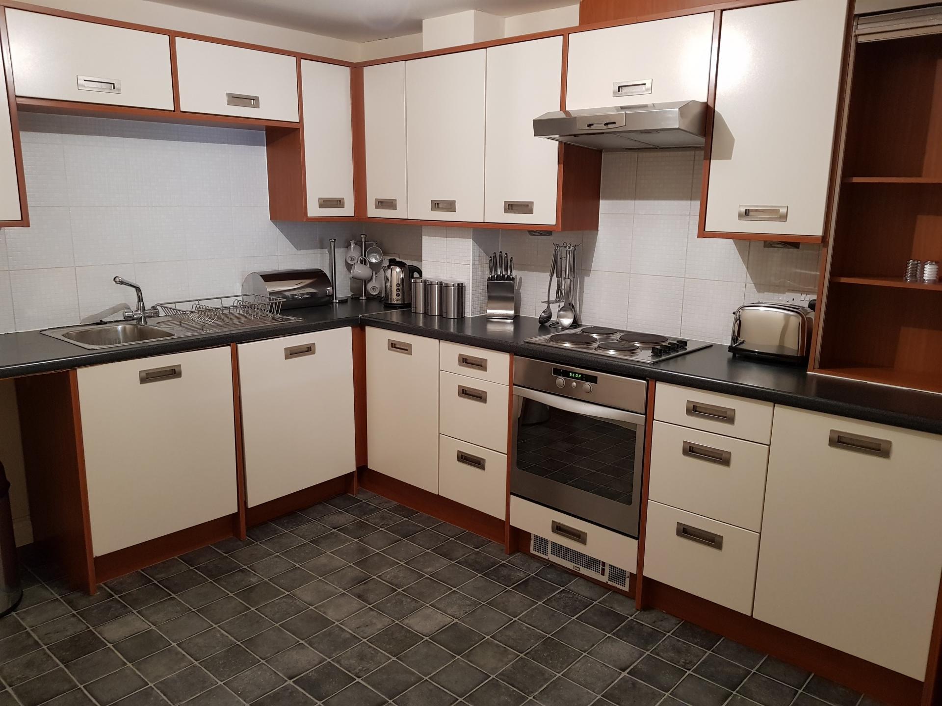 Kitchen at Le Tissier Court Apartment, The Polygon, Southampton
