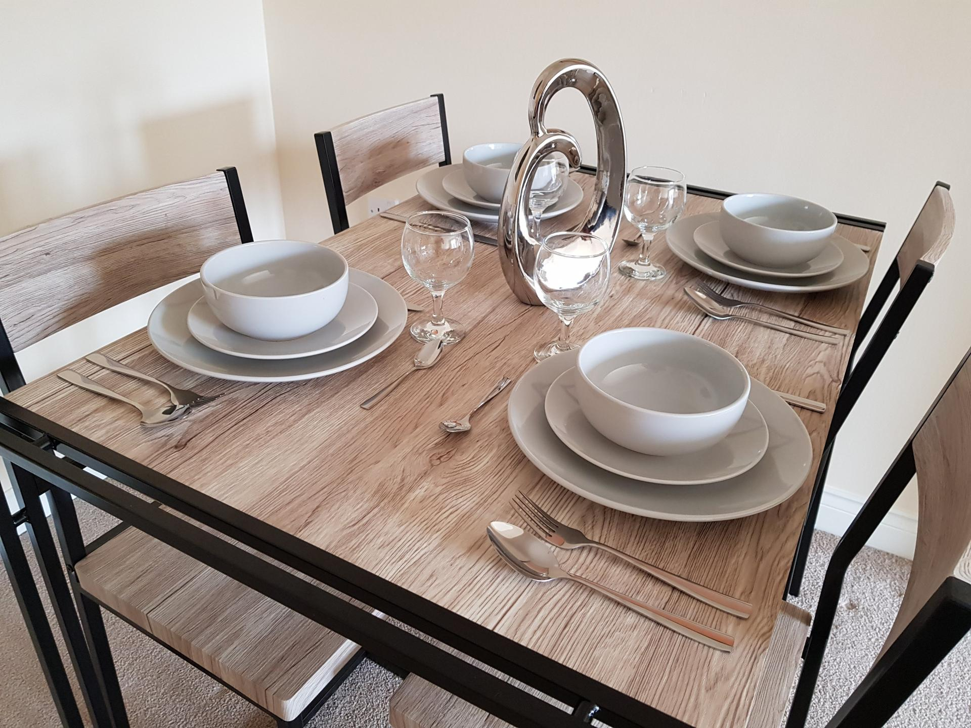 Dining table at Le Tissier Court Apartment, The Polygon, Southampton