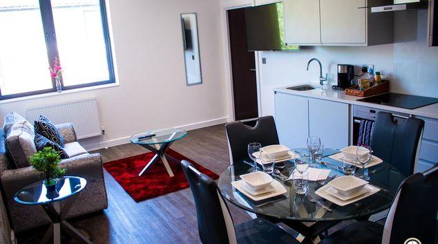 Living area at Clyde House Apartments, Oldbrook, Milton Keynes