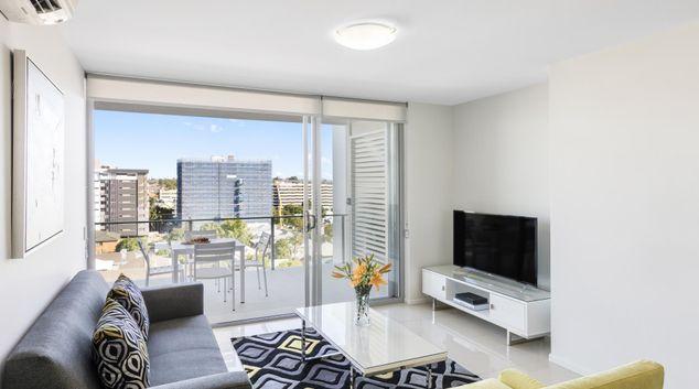 Living area at Oaks Brisbane Woolloongabba Suites