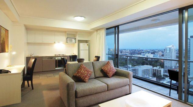 Living area at Oaks Brisbane Felix Suites