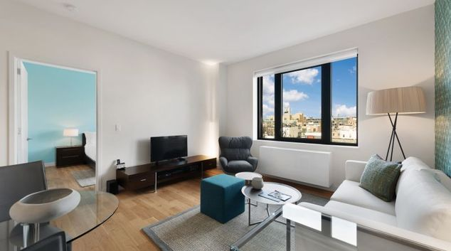 Living area at Fifth & Whythe Apartment, Brooklyn, New York