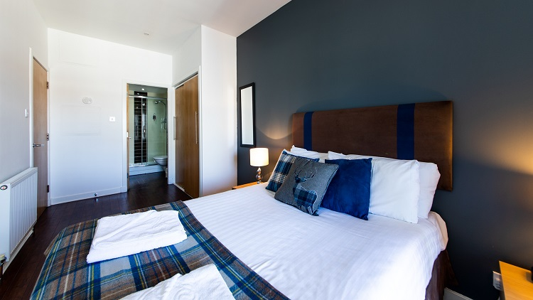 Spacious bedroom at The Spires Glasgow