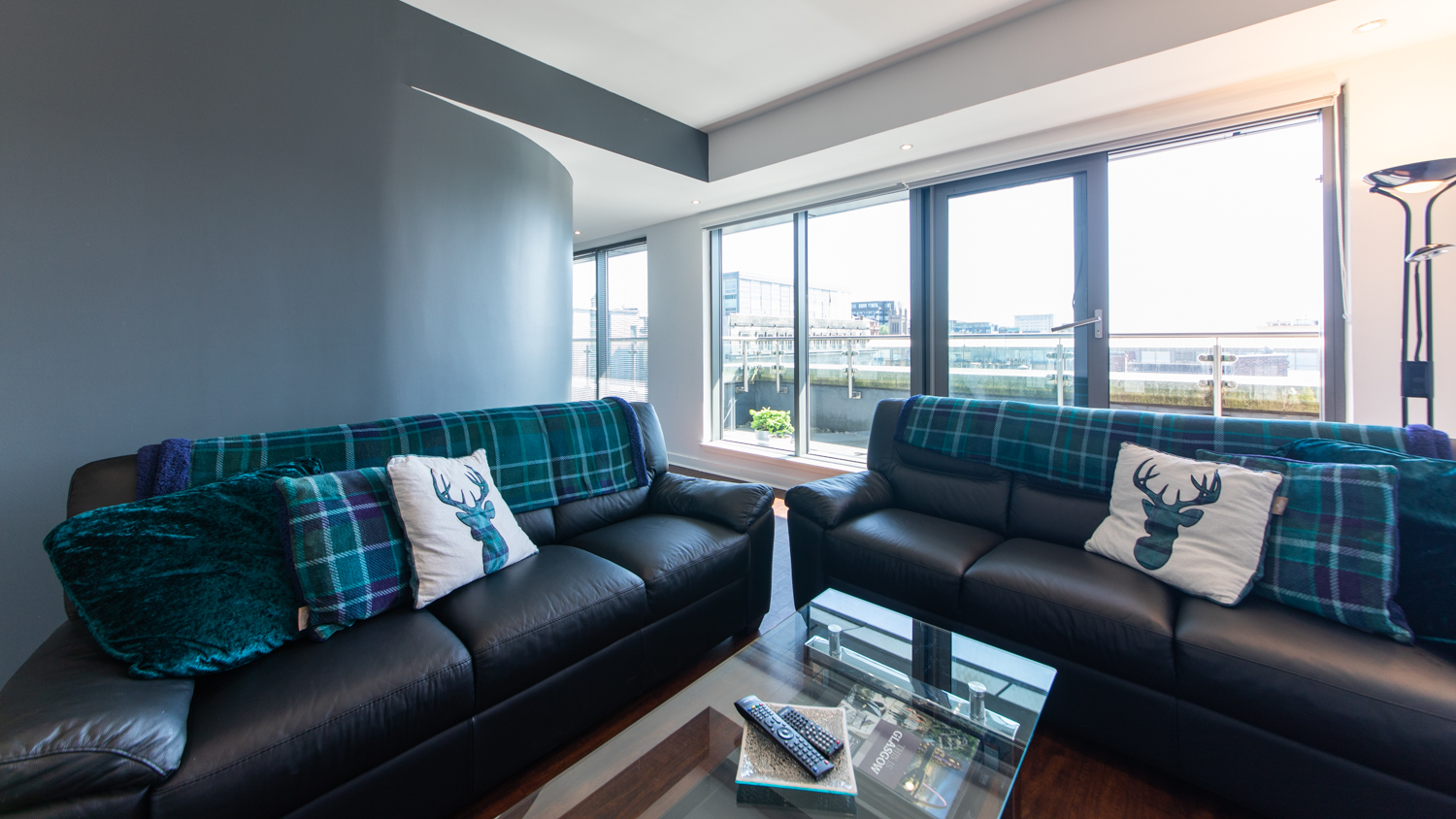 Bright living space at The Spires Glasgow