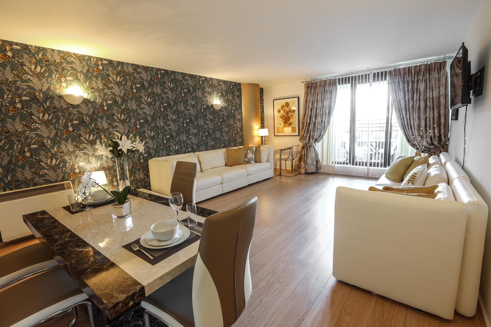 Living area at 116 Point West Apartments, South Kensington, London
