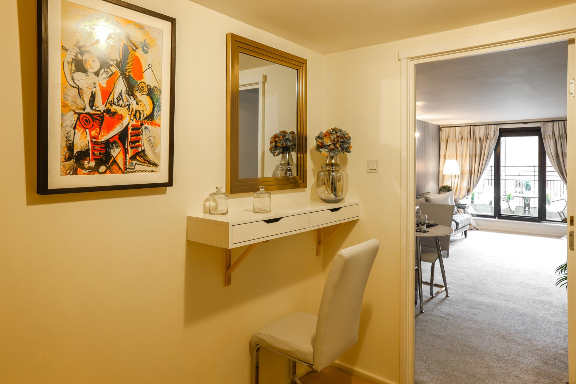 Dressing table at 116 Point West Apartments, South Kensington, London