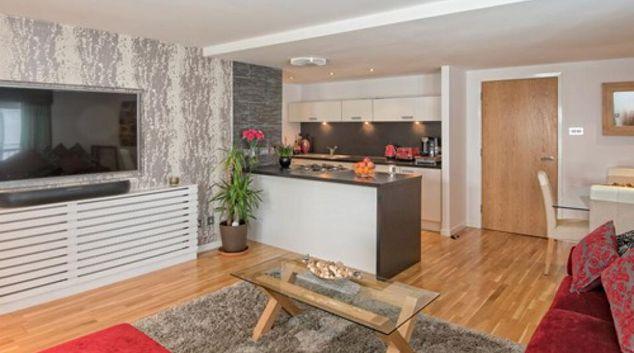 Living area at Watson Street Apartment, Merchant City, Glasgow