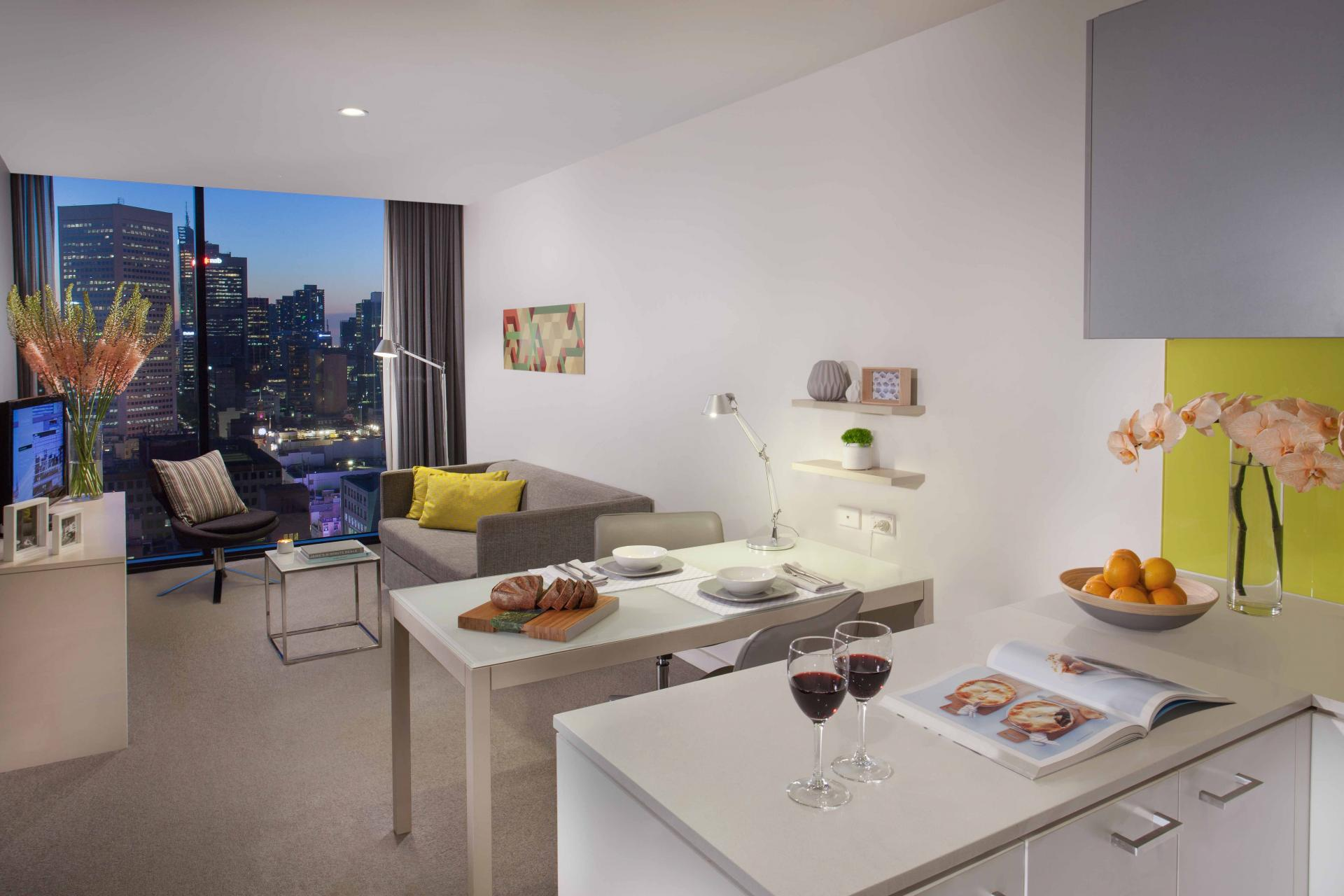 Modern kitchen area at Citadines Bourke Apartments