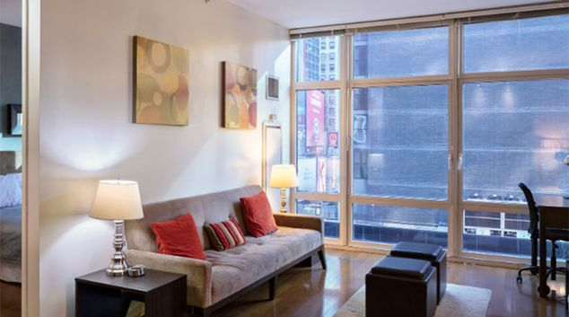 Living area at 1600 Broadway Corporate Housing, Manhattan, New York