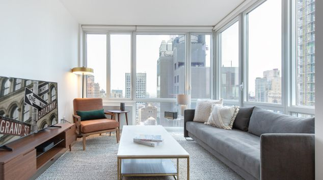 Living area at The Dylan Apartments, Manhattan, New York