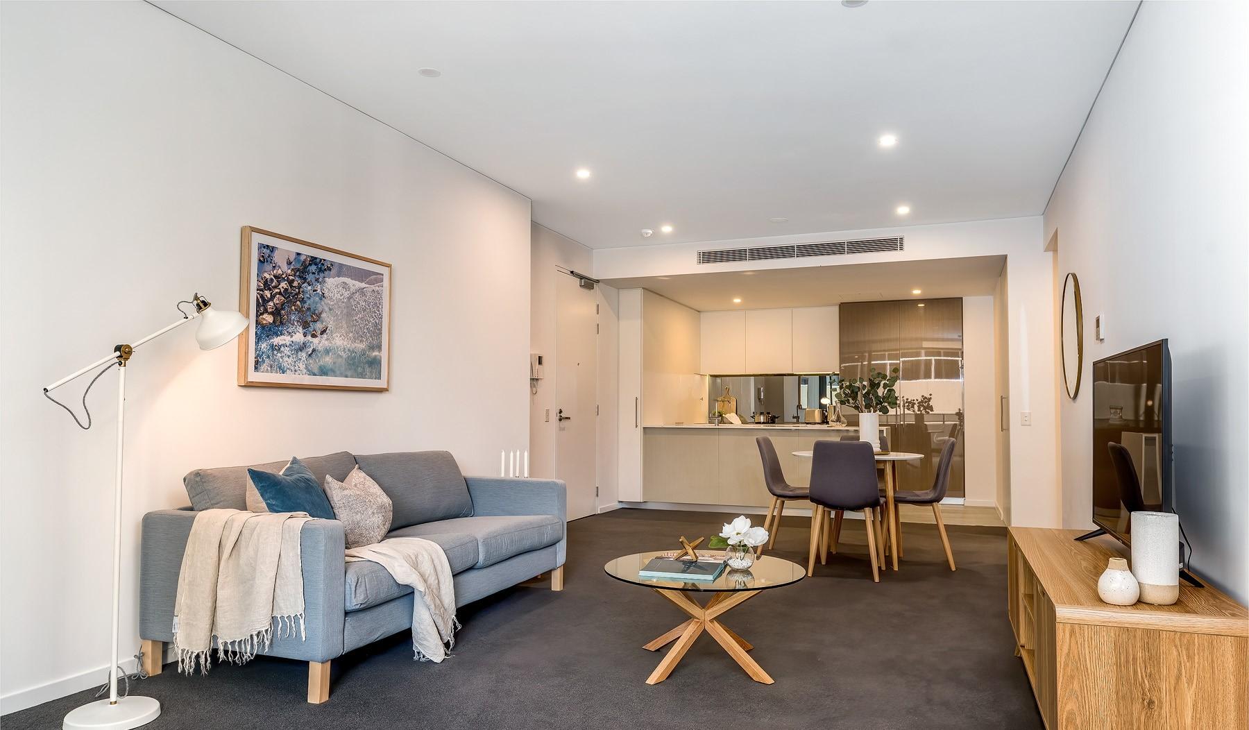 Sofa at Riverside Parade Apartments by Fraser, Centre, Perth