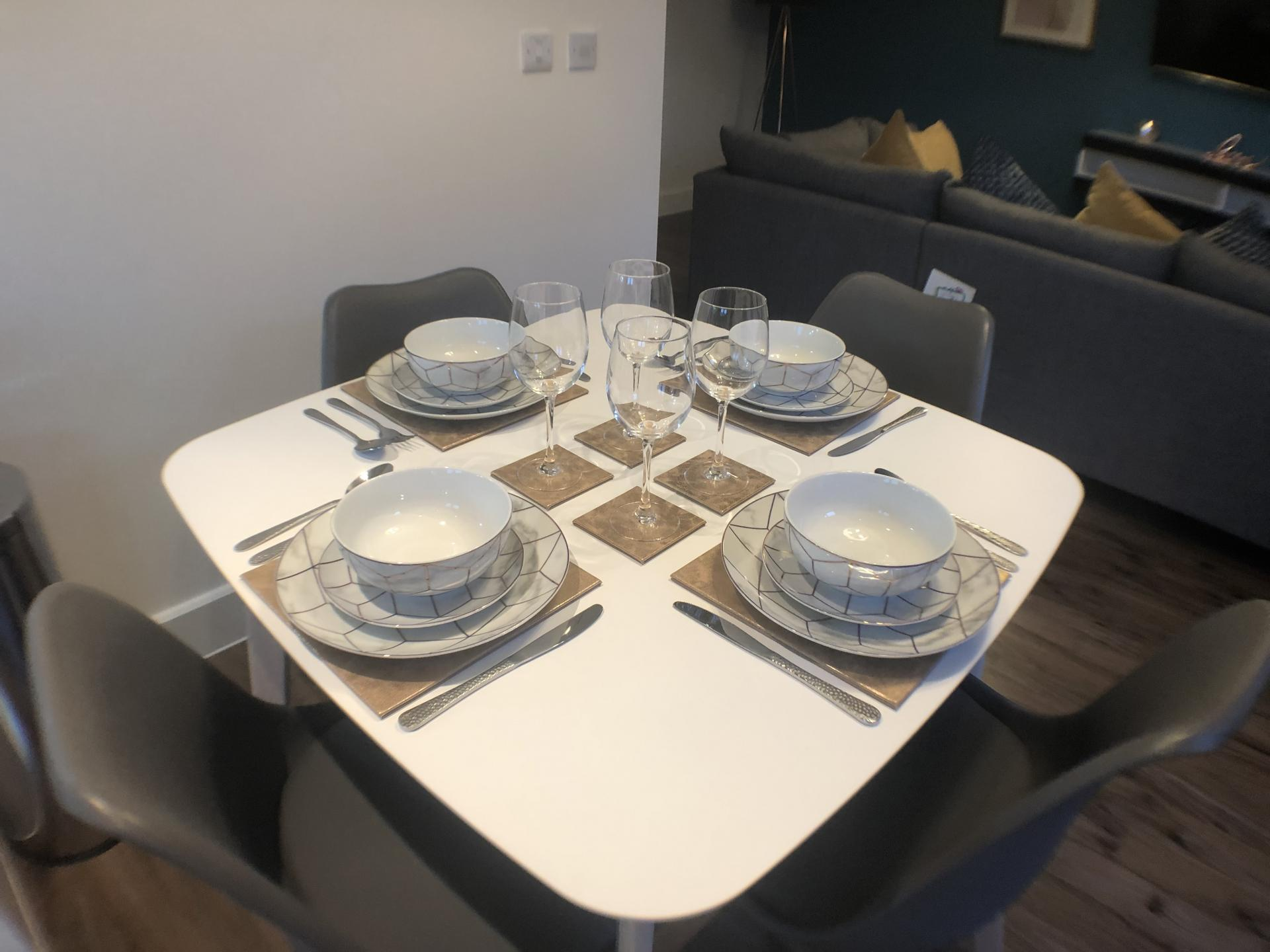 Dining room at Mulberry Lodge Apartments, Centre, St Albans