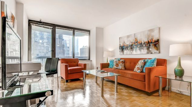 Living area at 56th Street Symphony House Apartments, Midtown West, New York