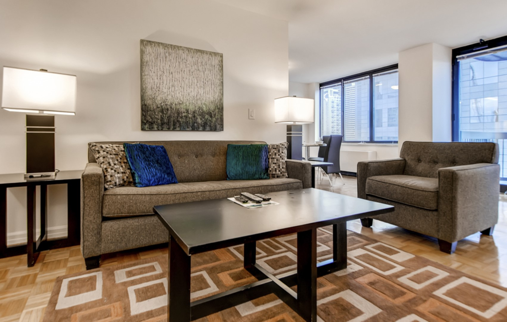 Sofas at 56th Street Symphony House Apartments, Midtown West, New York