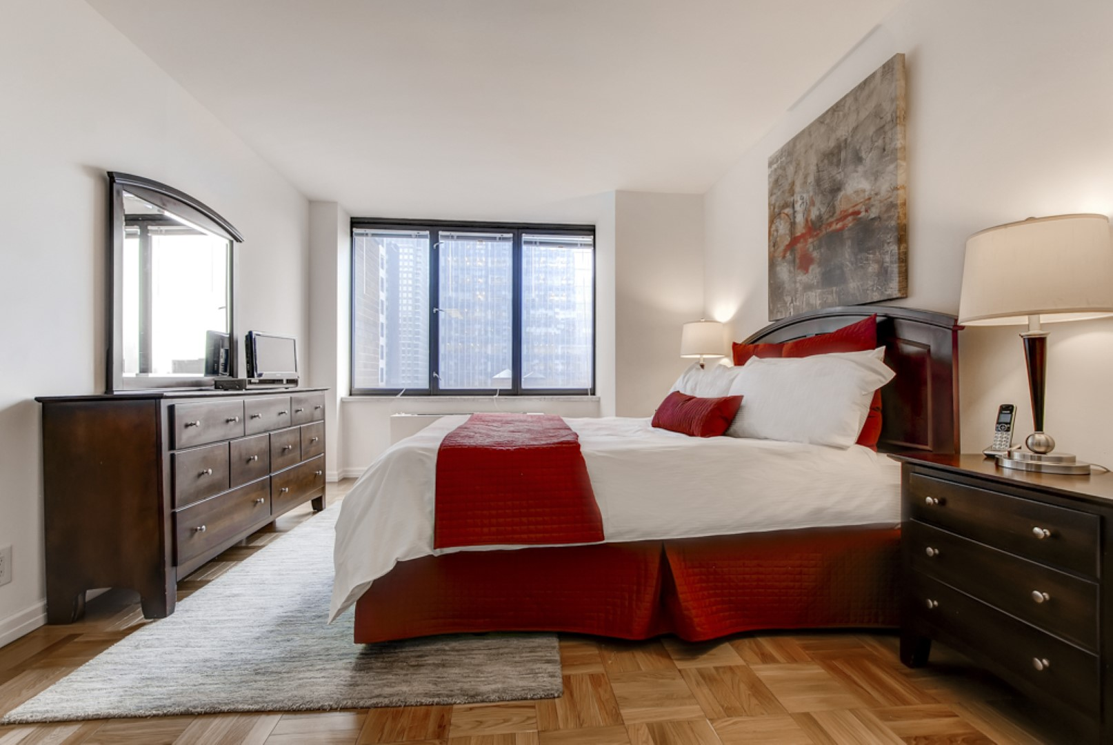 Bed at 56th Street Symphony House Apartments, Midtown West, New York