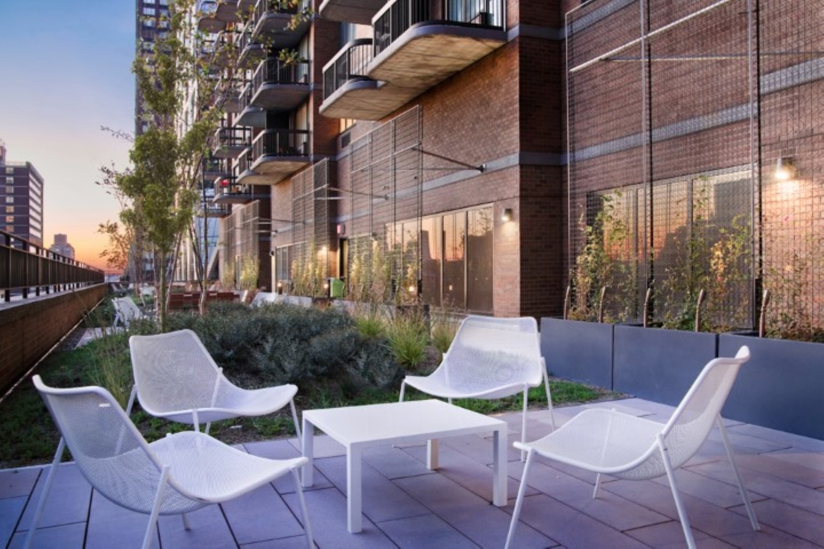 Terrace area at 56th Street Symphony House Apartments, Midtown West, New York