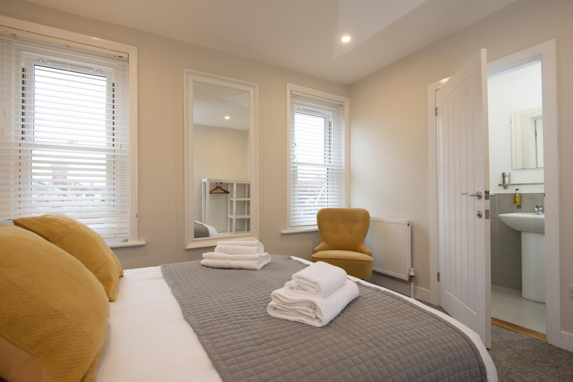 Bright bedroom at Hereford House Apartments, Southsea, Portsmouth