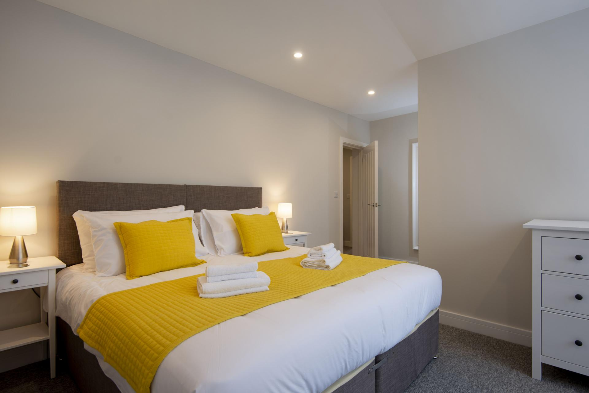 Yellow bed at Hereford House Apartments, Southsea, Portsmouth