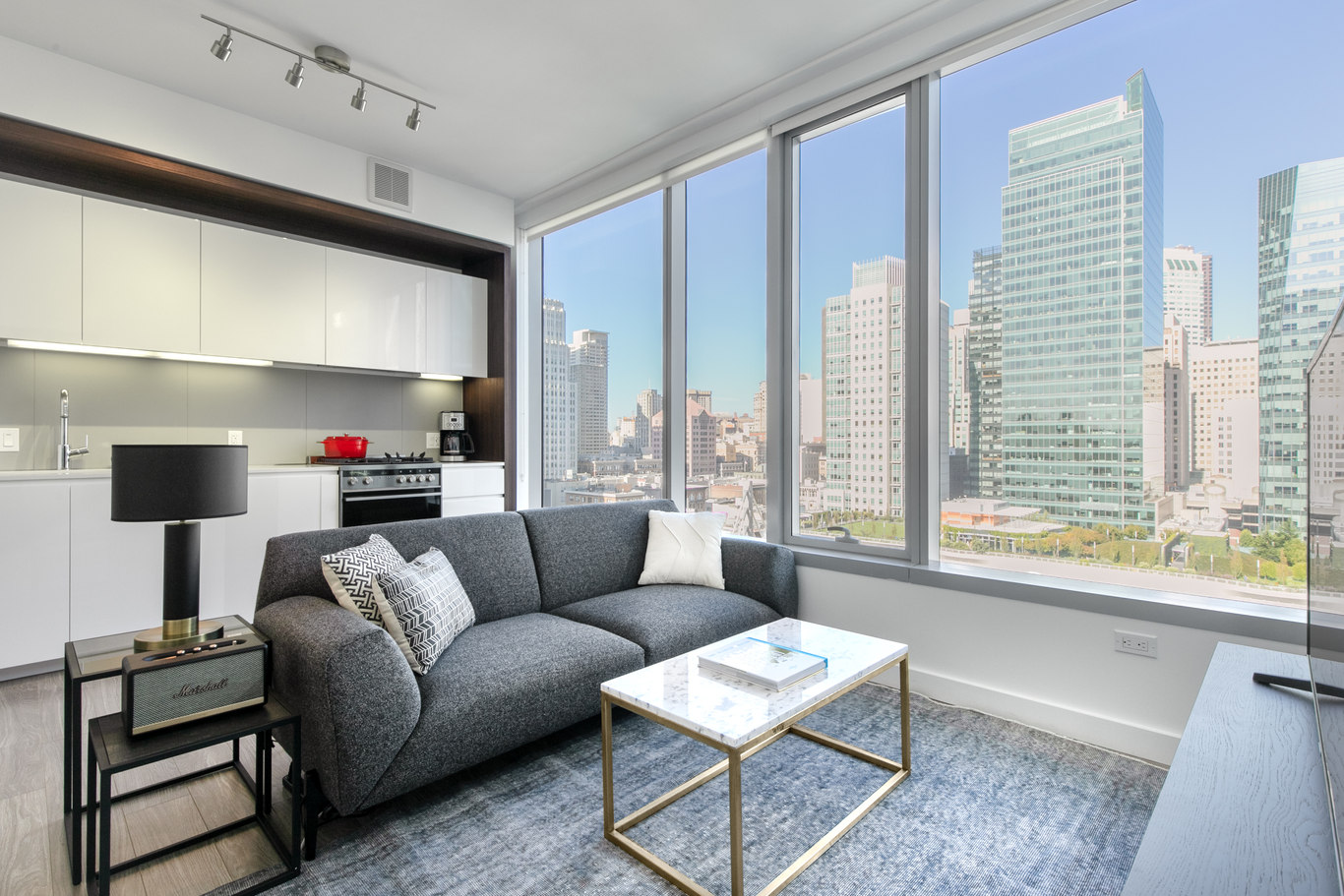 Living area at 33 Tehama Apartments, Rincon Hill, San Francisco