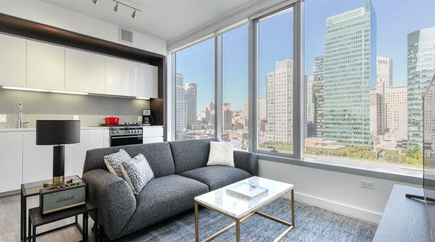 Living area at 33 Tehama Apartments, Rincon Hill, San Francisco