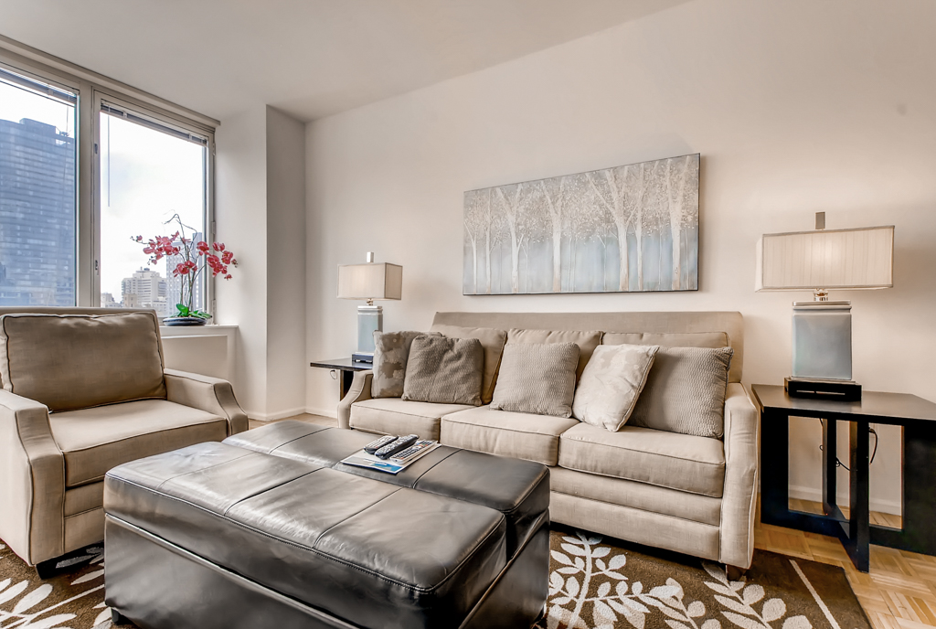 Sofa at The Pearl Apartments, Upper East Side, New York