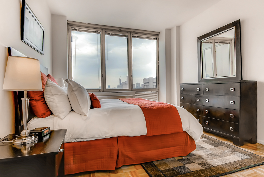 Bedroom at The Pearl Apartments, Upper East Side, New York